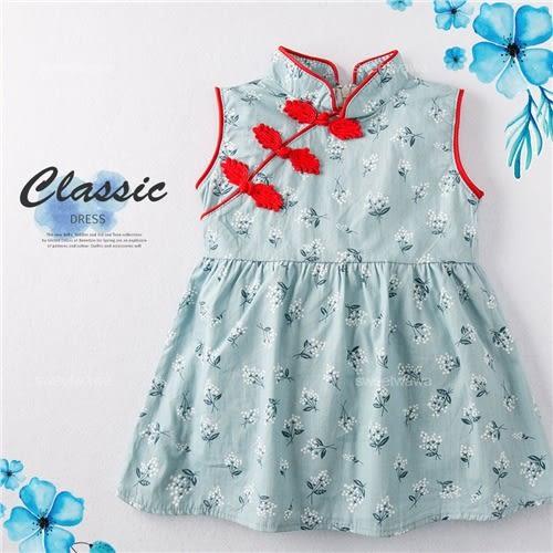 中國風繡結花束棉麻洋裝連身裙(250358)★水娃娃時尚童裝★