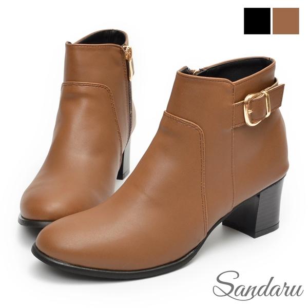 短靴 側金釦粗低跟短靴-可可