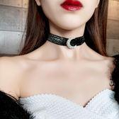 鎖骨鍊 月亮鎖骨鍊亮絲織帶Choker短版項鍊女正韓簡約脖子頸帶日韓飾品頸鍊