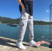 工裝褲 夏季薄款工裝褲男寬鬆直筒潮流百搭韓版休閒男生九分褲子運動長褲 LW1565