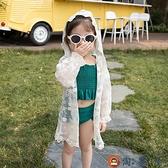 兒童遮陽防曬衣防曬衫女童寶寶公主中長蕾絲開衫外套夏兒童空調衫【淘夢屋】