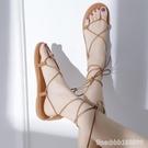 羅馬鞋 網紅涼鞋女仙女風新款超火時尚百搭交叉綁帶平底羅馬沙灘鞋女 城市科技