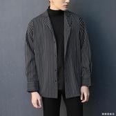 條紋襯衫男長袖正韓休閒冬季帥氣寸網紅學生修身潮流厚款黑色襯衣