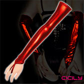 性愛SM 調情 情趣用品 虐戀精品CICILY 女性過肘 仿皮 造型情趣長手套-紅 +潤滑液1包