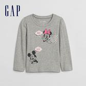 Gap女幼童 迪士尼系列創意圖案印花長袖T恤 618837-灰色