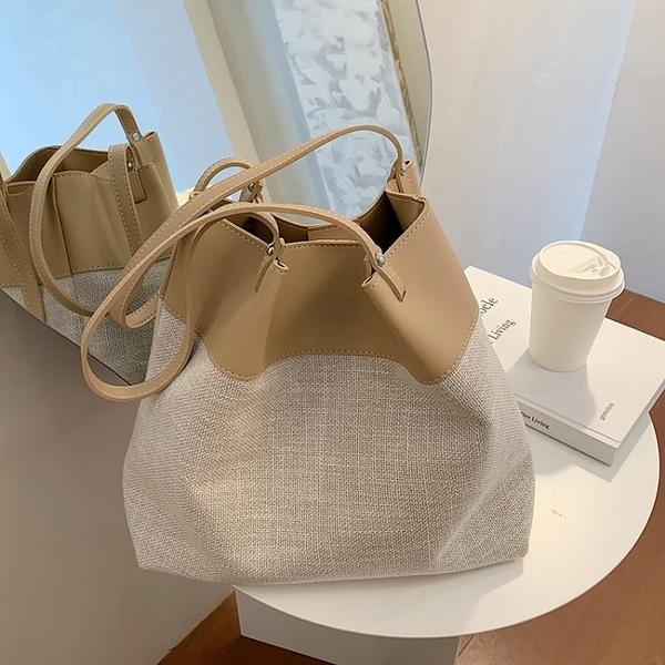 水桶包 包包女2021新款潮百搭單肩手提包網紅大容量托特包洋氣編織水桶包 夢藝家
