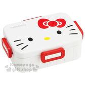 〔小禮堂〕Hello Kitty 日製四面扣便當盒《白.大臉.650ml》內附隔板可將食物分類 4973307-38294
