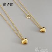 鍍金項鍊 日韓版簡約短款鎖骨鍊鍍18k金心形吊墜鈦鋼鍍