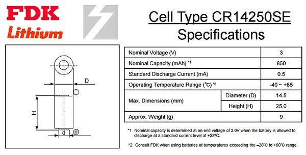 ✚久大電池❚ 日本 FDK 三洋 SANYO CR14250SE 3V 帶針腳3P 一次性鋰電【PLC工控電池】FD15