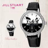 JILL STUART 女孩歡慶隊伍錶盤設計黑色皮革腕錶手錶 獨立秒盤 日本限量 柒彩年代【NE1012】原廠