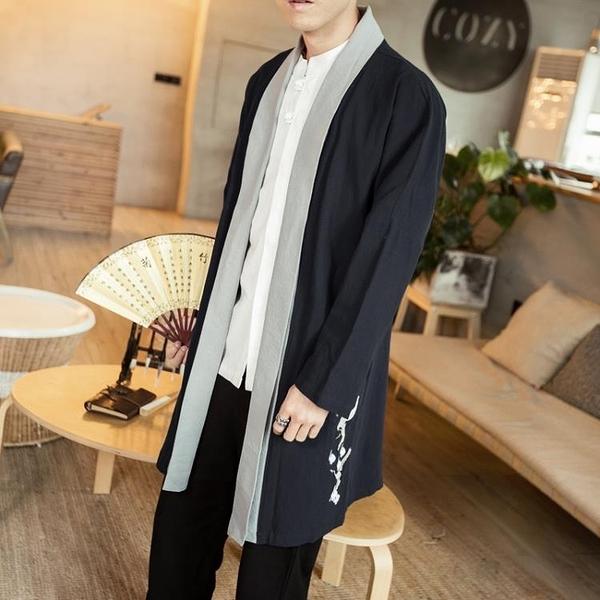 促銷 秋季中國風刺繡復古棉麻道袍風衣中式禪修服漢服男裝古風披風外套