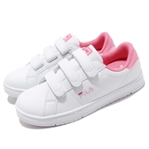 Fila 復古網球鞋 C301T 基本款 小白鞋 白 粉紅 魔鬼氈 經典款 女鞋 運動鞋【PUMP306】 5C301T155