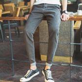 春秋季新款黑色韓版修身型九分小腳牛仔長褲男生潮流青少年
