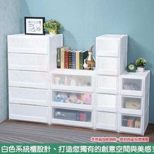 限量特惠-《真心良品x樹德》白色積木系統式3層隙縫收納櫃43.5L