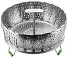 [2玉山網] 不鏽鋼蒸架 摺疊蒸盤 24cm/9吋 多功能蒸菜盤 具伸縮提手 腳墊 適用電鍋 蒸籠 蒸鍋 壓力鍋