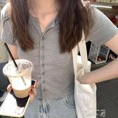 灰色冰絲針織開衫短袖t恤女夏季薄款韓版修身顯瘦短款打底衫上衣