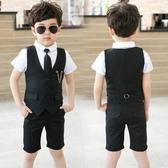夏季新品男童禮服 馬甲三件式套裝 兒童六一演出服時尚花童西裝 CJ5242『毛菇小象』
