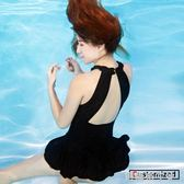泳衣女保守學生連體游泳衣顯瘦遮肚性感韓國小胸聚攏裙式露背泳裝 焦糖布丁
