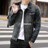 潮男士牛仔夾克 青年韓版修身復古加絨牛仔衣男外套  瑪奇哈朵