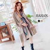 【HC5225】素面蓬蓬袖 荷葉拼接洋裝