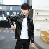 新款皮衣男加厚外套立領修身帥氣青年加絨機車皮夾克潮
