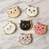 聖誕預熱  日本 貓顏隨身鏡迷你貓咪化妝鏡迷你小巧折疊雙面小圓鏡子 艾尚旗艦店