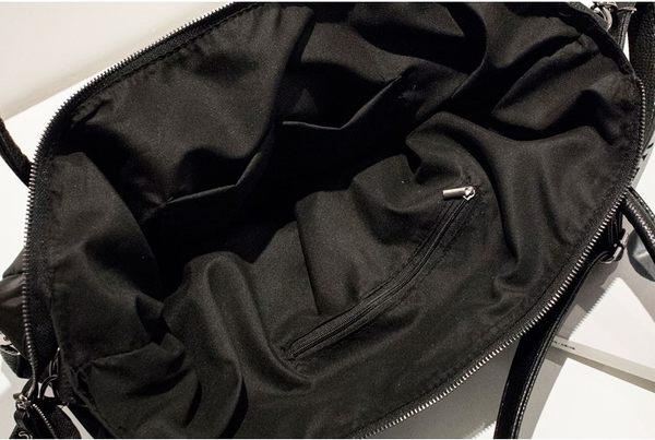 *UOU精品*歐美時尚 防潑水布單肩包斜背包購物包 軟皮時尚造型大方包‧黑色【T8399】