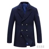 秋冬季青年雙排扣呢子大衣男士大碼外套中長款毛呢外套 LR15607【原創風館】