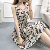 棉綢女洋裝  夏裝新款寬鬆大碼收腰人造棉無袖背心裙沙灘裙潮