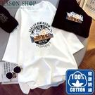 EASON SHOP(GQ0947)韓版100%純棉復古撞色繽紛字母塗鴉印花落肩寬鬆圓領五分短袖素色棉T恤女上衣服