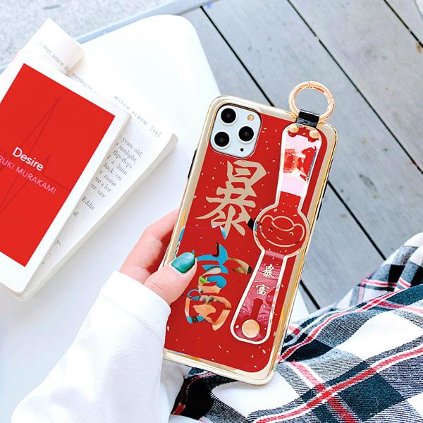 蘋果 iPhone 11 Pro Max XR XS MAX iX 大喜紅金款 手機殼 手帶 全包邊 可掛繩 保護殼