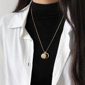 吊墜純銀毛衣鏈簡約百搭太陽月亮長款女項鏈學生銀鏈飾