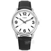 TIMEX 天美時 / TXTW2U71700 / Easy Reader系列 簡約風格 冷光照明 真皮手錶 白x銀框x黑 38mm