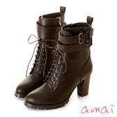 amai可調式皮帶繞踝綁帶個性高跟踝靴 咖