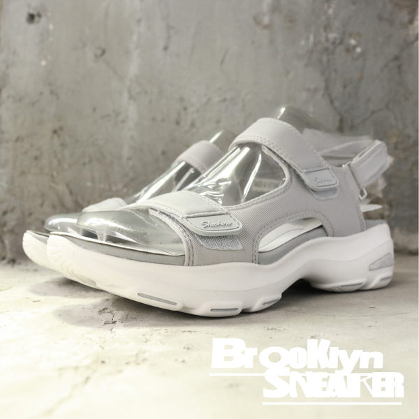 SKECHERS Dlites Ultra Camp Cool 白底 灰 涼鞋 女 (布魯克林) 32383GRY