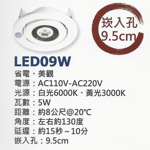 【燈王的店】《感應式LED照明崁燈》台灣製 全電壓 5W崁燈+感應器(崁入孔9.5CM)(白光/黃光) ☆ LED09W