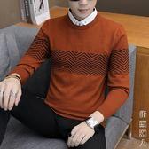 新款春秋季男士毛衣假兩件襯衫領韓版修身線衣休閒針織打底衫 街頭潮人