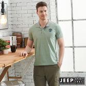 【JEEP】清新細條紋短袖POLO衫-綠灰
