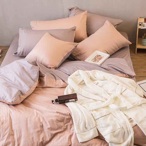 床包兩用被組 / 雙人【撞色系列-可可粉】含兩件枕套 100%精梳棉 戀家台灣製AAA215