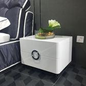CBD同款床頭櫃現代簡約白色亮光烤漆床邊櫃儲物收納櫃整裝 igo  全館免運