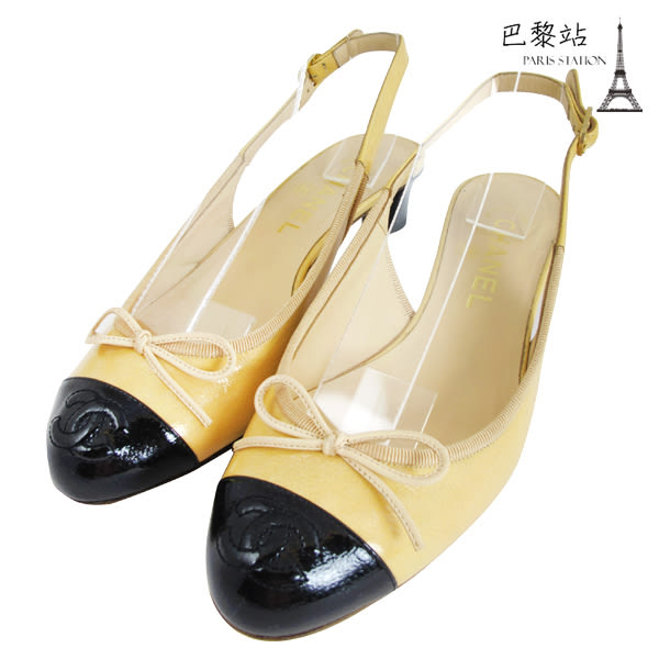 【巴黎站二手名牌專賣店】*現貨*CHANEL 香奈兒 真品* 娃娃鞋 繫帶涼跟鞋(37.5號 駝x黑)