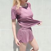 瑜伽服套裝 瑜伽健身服女網紅速干衣薄款防走光短褲晨跑步運動套裝女夏 - 歐美韓熱銷