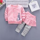 童裝 套裝 厚款 菱格紋 女童長袖外套+長褲 寶貝童衣