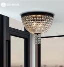美術燈  藝術吸頂燈美式鄉村臥室燈客廳圓形複古水晶吸頂燈(中號)    -不含光源