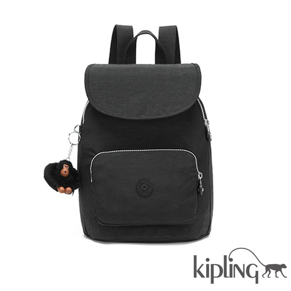Kipling 柏油黑素面後背包-大