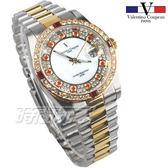 valentino coupeau 范倫鐵諾 滿天星鑽 不鏽鋼 防水手錶 男錶 金色 鑲鑽 經典 放大日期 V1217T半金大