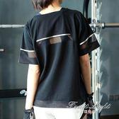 大碼速幹t恤女網紗鏤空運動罩衫短袖女寬鬆健身衣瑜伽服 果果輕時尚