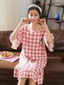 睡裙 女夏短袖純棉連衣裙子薄款睡衣夏天寬鬆大碼孕婦睡裙