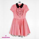 【SHOWCASE】蕾絲珠領荷葉細褶襯衫洋裝(粉)