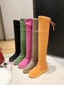 膝上靴 網紅糖果色絨面彈力靴襪子鞋馬丁靴機車靴過膝靴長筒靴子平底女鞋【快速出貨八五折】